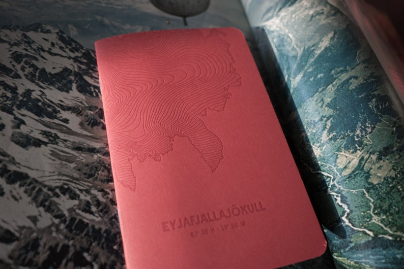 Eyjafjallajökull Glacier Letterpress Notebook Red  Pack of 3 image 0