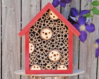 Handmade Beneficial Bug Box, Solitary Bee House, Bee Hotel, All Natural Insect Habitat, Rustic Red Garden Decor, Handmade Insect House