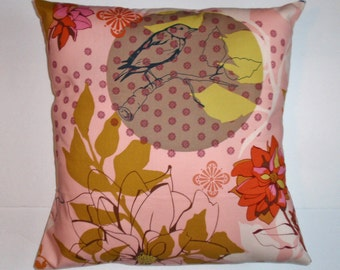 Handmade Throw Pillow Cover, Pretty Bird & Pink Floral Handmade Accent Pillow Cover, Pretty Pink Sketchbook Rose Cushion Cover - LAST ONE