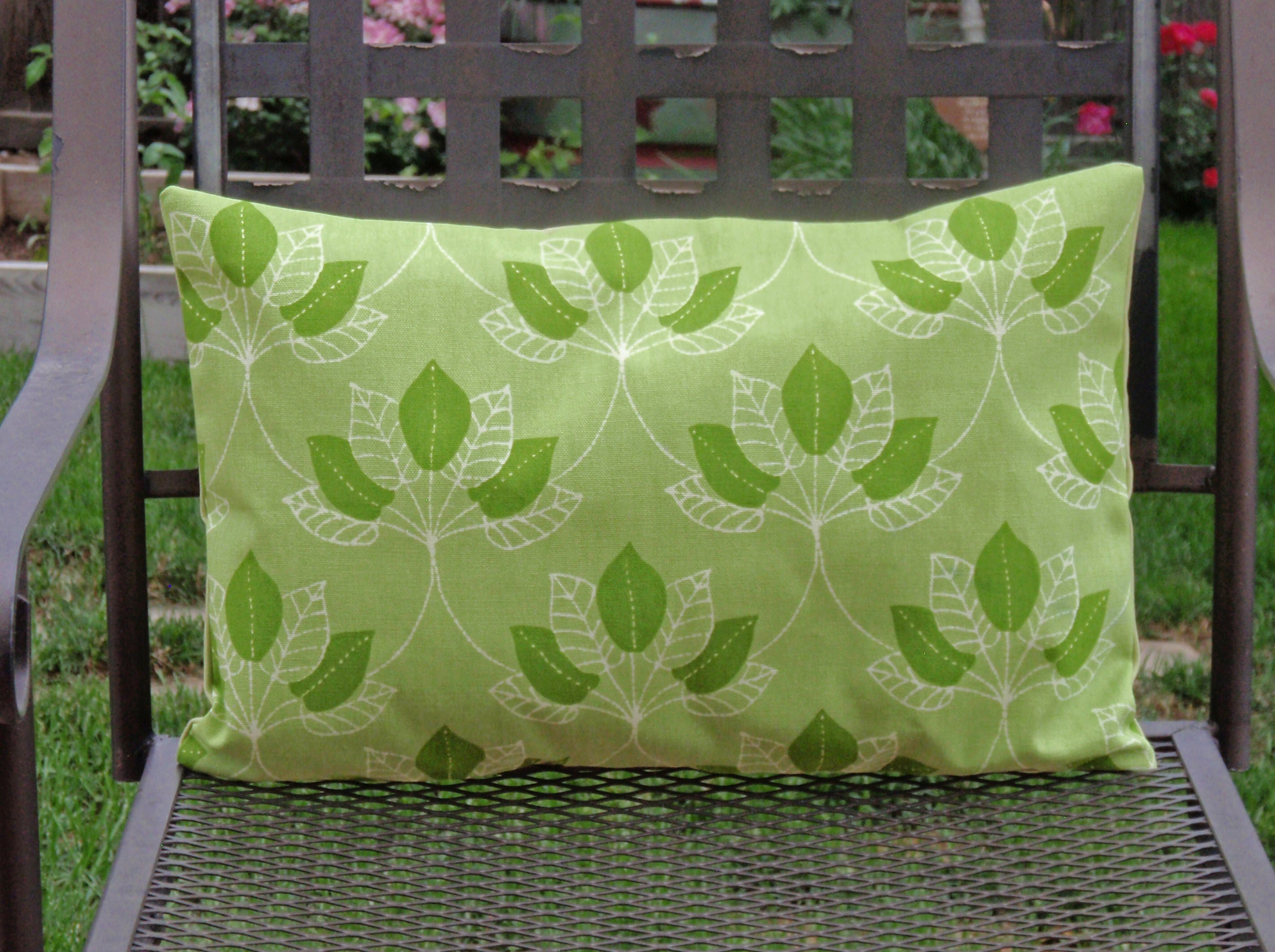 Outdoor Lumbar Throw Pillow Cover Pretty Leafy Green Outdoor Etsy
