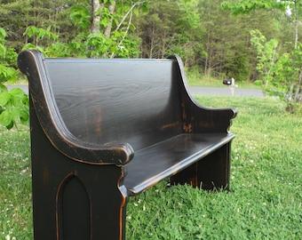 church pew etsy. Black Bedroom Furniture Sets. Home Design Ideas
