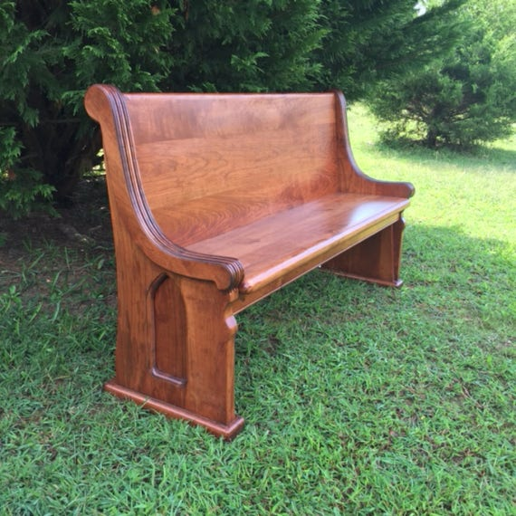 Enjoyable 62 Cherry Wood Church Pew With Natural Stain Finish Dailytribune Chair Design For Home Dailytribuneorg