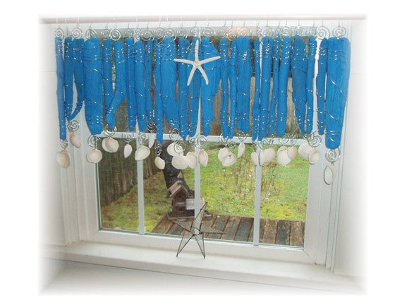 Croustillant bleu bois flotté Beachy vif fenêtre traitement | Etsy