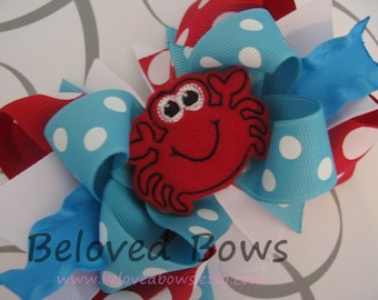 Embroidered Felt Crab Boutique Style Hair Bow, Layered Summer Hair Bow, Red and Turquoise Hair Bow