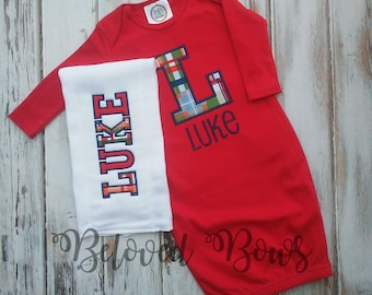 Baby Boy Coming Home Baby Gown with Matching Burp Cloth, Personalized Monogrammed Gown, New Baby, New Mom, Layette Gown
