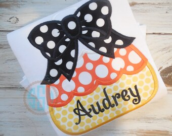 Chunky Candy Corn with Bow Applique Shirt--Fall/Halloween--Personalized