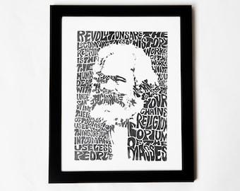 Karl Marx Silkscreen Print | 10 x 14 | Hand Printed Silkscreen Screenprint Poster Wall Art