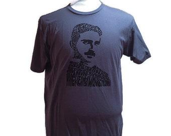 Nikola Tesla T-shirt | HAnd Printed Silkscreen Screenprint Graphic Tee Quote