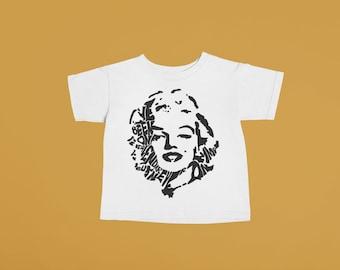Marilyn Monroe Baby or Kids Tshirt | Hand printed graphic tee unisex toddler baby kid