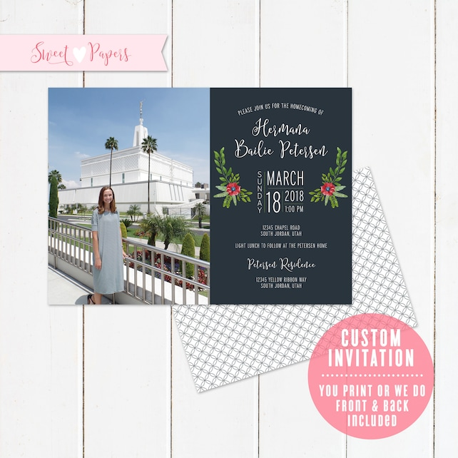 Custom Lds Missionary Homecoming Invitation You Print Or We Print