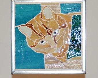 Ginger Tabby in Glass Mosaics
