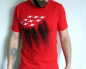 Airplane Formation Graphic T-Shirt - Unique Screenprint and Spraypainted Men's Size Medium Red, White and Black