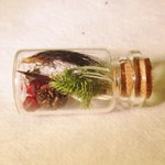 Forest Spirit Amulet, Miniature Corked Glass Vial, Wiccan Pagan Charm With Northern Forest Plants