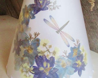 Lampshades field and forest vintage and by botanicallampshades pressed flower lamp shade botanical lampshade with blue delphinium blue floral lampshade dragonfly lamp shade custom size lamp shade mozeypictures Images