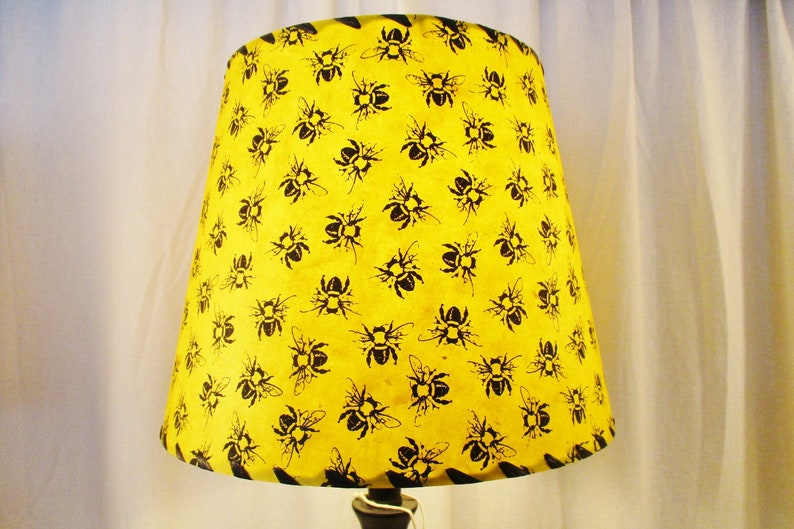 Bumblebee Lamp Shade Yellow Silkscreened Nepalese Lokta Paper image 0