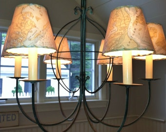 Ocean Chart Chandelier Lampshades, Wall Sconce Shades, Made to Order MapShades, Tiny Custom Lamp Shade, Nautical Decor, Chandelier Shades
