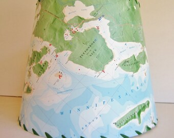 Lake Winnipesaukee MapShade, Map Lamp Shade, Lake Chart Lamp Shade, Navigation Chart, Custom Lampshade, New Hampshire Souvenir, Drum Shade