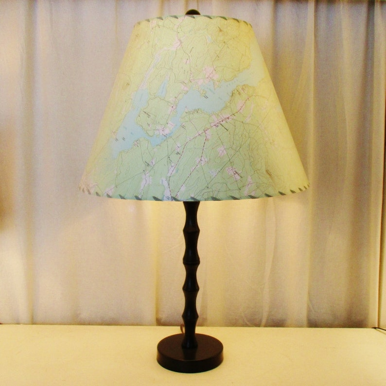 Kezar Lake Maine Lamp Shade Large Topographic Map Lamp Shade image 0