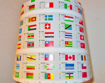 Lamp Shade, Flags of the World, Drum Shade, Vexillology, International Flags, Lampshade for Office, Kids Room Lampshade, Student Lampshade