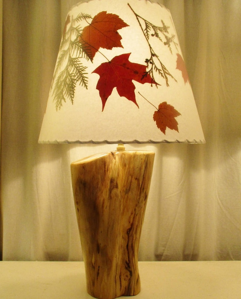 Sugar Maple and Cedar Botanical Lampshade with Real Pressed image 0