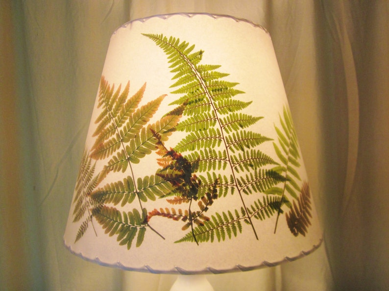 Pressed Fern Lampshade Botanical Lampshade Washer Top Shade image 0