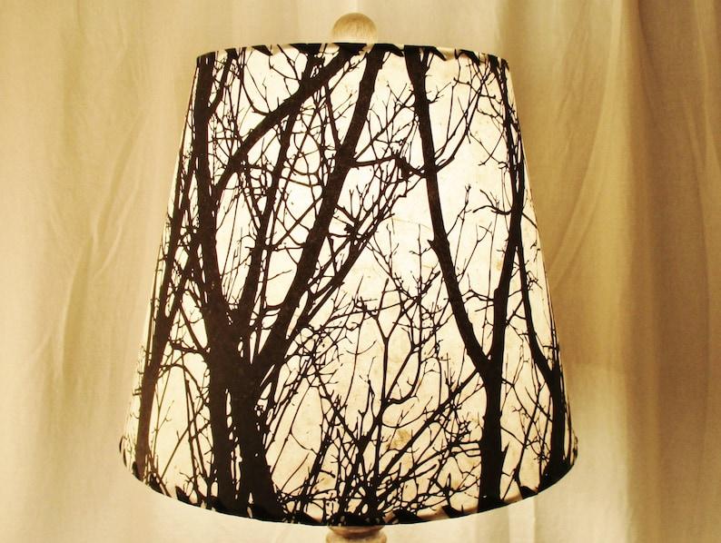 Tree Silhouette Drum Lamp Shade Black and White Tree image 0