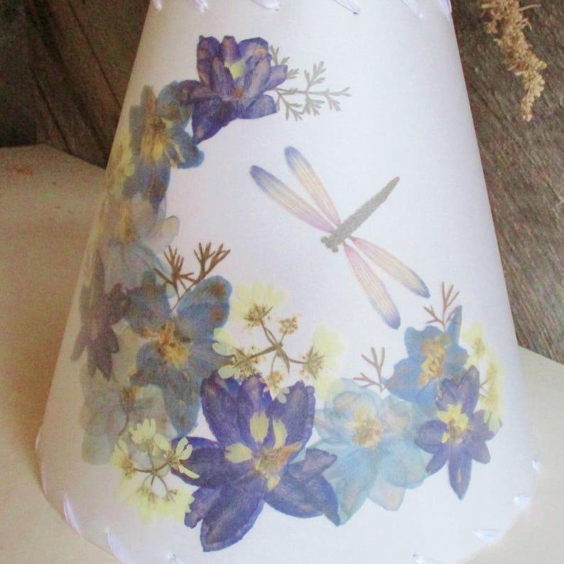 Pressed Flower Lamp Shade Botanical Lampshade with Blue image 0