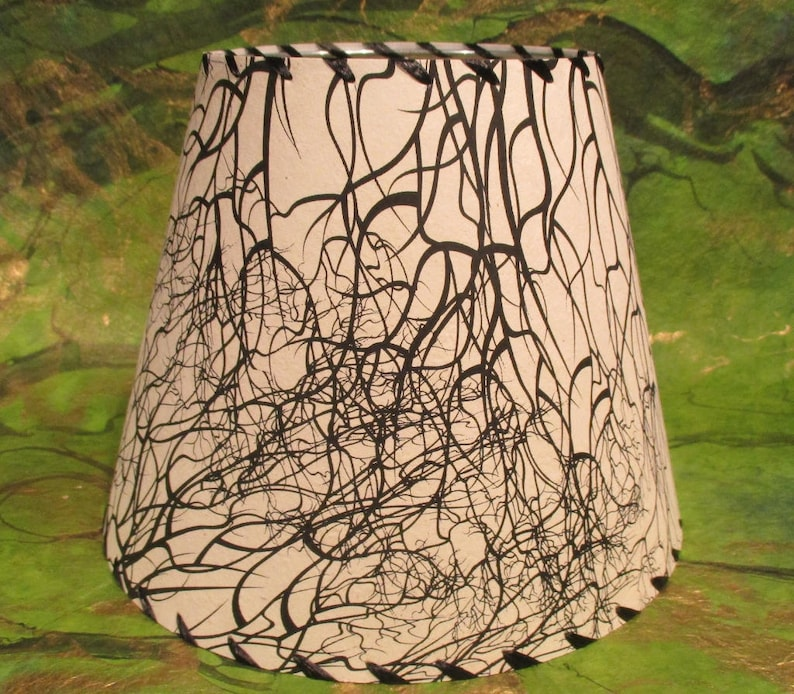 Tree Root Silkscreened Paper Lamp Shade Black and White image 0