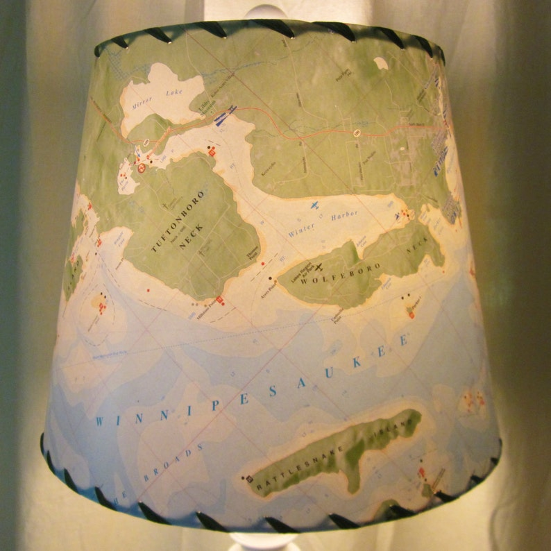 Lake Winnipesaukee Chart Lamp Shade Custom NH Map Lamp Shade image 0