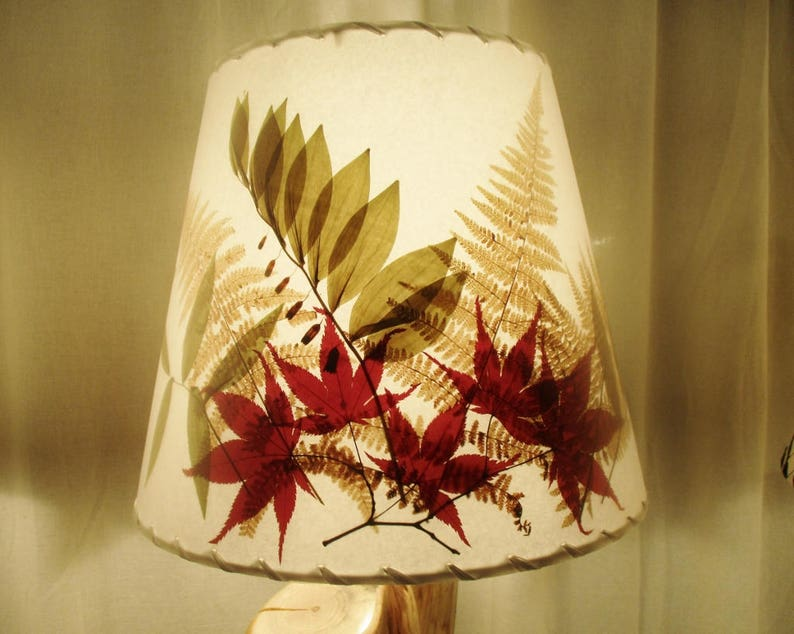Pressed Ferns Botanical Lampshade Golden Fall Ferns and image 0