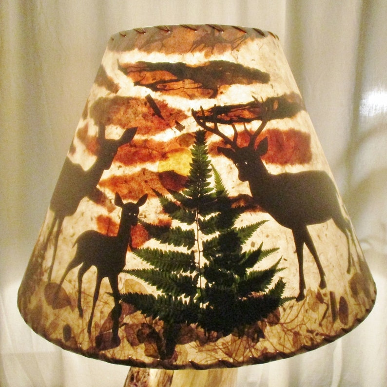 Lamp Shade with Deer Family Doe Buck and Fawn Paper Collage image 0