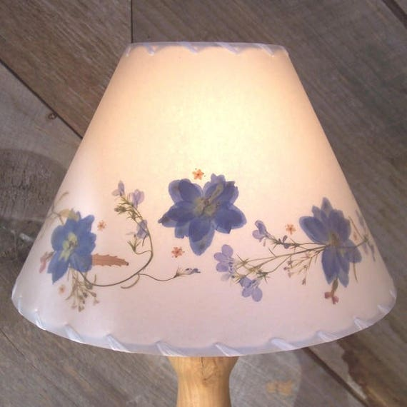 Botanical Lampshade With Blue Delphinium Real Pressed Flower Etsy