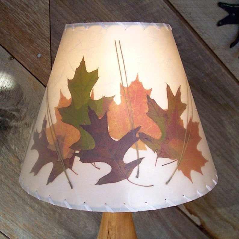 Oak and Sugar Maple Leaf Lamp Shade Botanical Lampshade made image 0