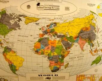 Vintage Wall Map Etsy - Oversized vintage maps