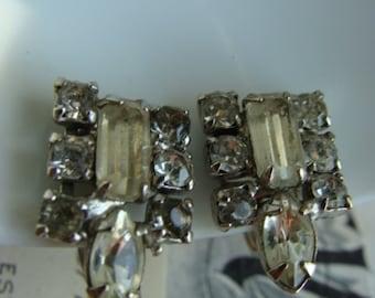 Vintage Genuine Ruby and Sterling Silver Heart Dangle Earrings  Ear Bobs
