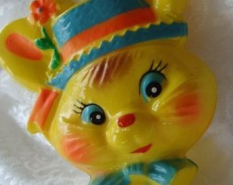 Vintage Easter Kitsch Adorable Bunny Face