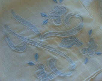 Antique Wedding Gorgeous Vintage Monogramed Hankie Something Blue