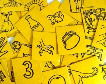 Rare Antique Consonant Lotto Thick Cardboard Game Cards 1956