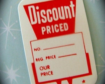 One Dozen Darling Little Vintage Retro Tags, Discount Priced Red Price Tags
