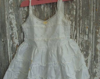 Vintage Stained Frilly Ruffled Farmhouse Baby Girl Dress Slip 244