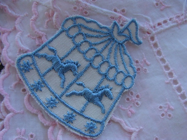 Beautiful vintage carousel embroidery appliqué etsy