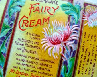Gorgeous Antique Heavily Embossed Vintage Fairy Cream Label