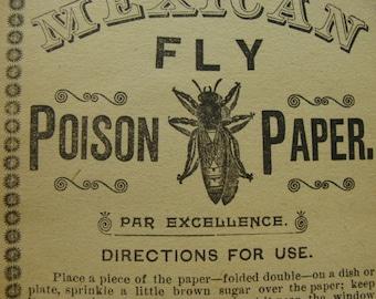 Antique Poison Creepy Label 6 inches