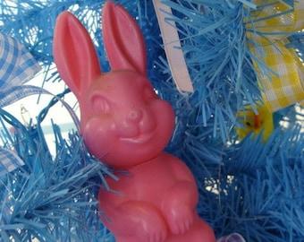 Vintage Kitsch Pink Soft Plastic  Bunny