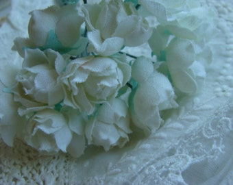 Vintage Wedding Millinery Bunch Very Pretty Pristine White Cabbage Roses with Aqua leaves Unused Condition