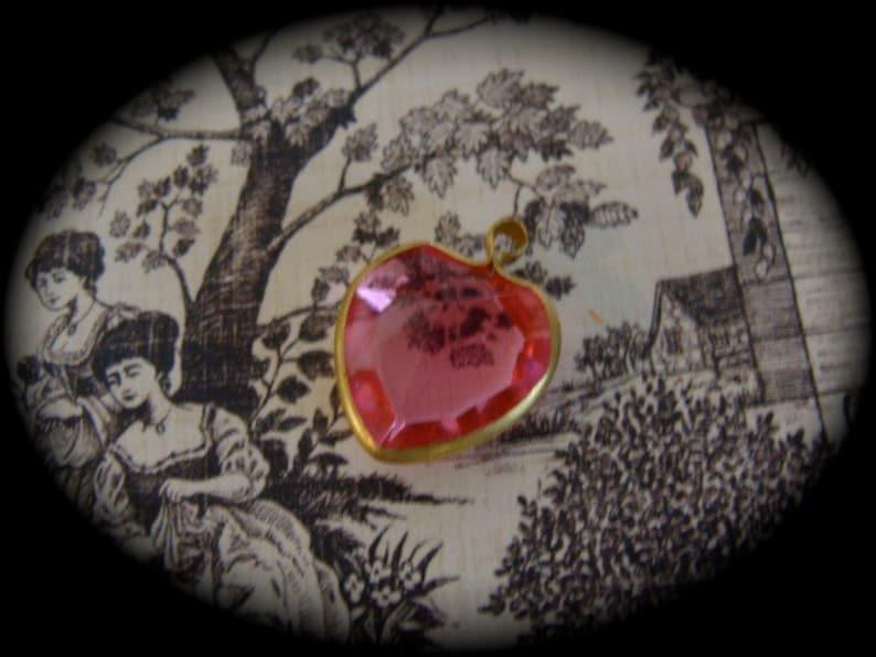 ON SALE Vintage Girly Girl Pink Diamond Cut Crystal Heart Pendant