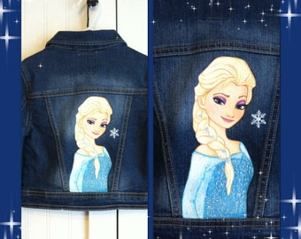 Custom Disney clothing Painted Frozen Princess choice of 1 character, Elsa, Anna or Olaf on a jean jacket  12 m to 12 teen