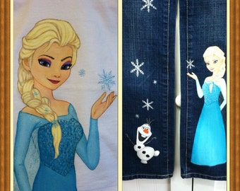 Custom Disney set Painted frozen Princess shirt and 2 character jeans set choice of characters elsa, anna, olaf  Sz 12 m to 24m/ 2T - 12