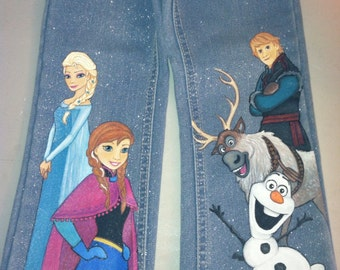Custom Disney  clothing Painted Frozen Princes 5 character jeans Sz 12 m to 24m/ 2T to 12 teen