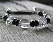 Crystal Quartz Medical ID Bracelet, Black Agate Gemstone Detachable Sterling Silver Bracelet, Medical Bracelet Attachment